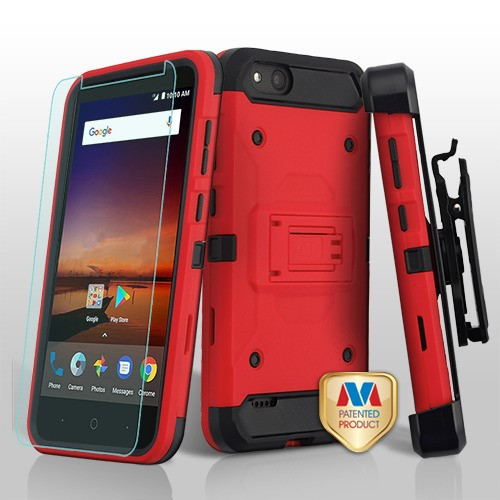 MyBat 3-in-1 Kinetic Hybrid Protector Cover Combo (with Black Holster)(Tempered Glass Screen Protector) for Zte Fanfare 3 - Red / Black