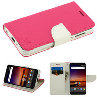 MyBat Liner MyJacket Wallet Crossgrain Series for Zte N9137 (Tempo X) - Hot Pink Pattern / White