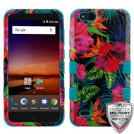 MyBat TUFF Hybrid Protector Cover [Military-Grade Certified] for Zte N9137 (Tempo X) - Electric Hibiscus / Tropical Teal