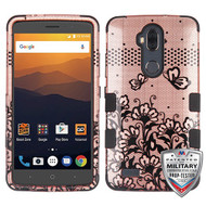 MyBat TUFF Hybrid Protector Cover [Military-Grade Certified] for Zte N9560 Max XL - Black Lace Flowers (2D Rose Gold) / Black