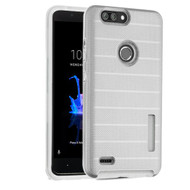 MyBat Fusion Protector Cover for Zte Sequoia - Silver Dots Textured / Transparent Clear