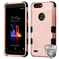 MyBat TUFF Hybrid Protector Cover [Military-Grade Certified] for Zte Sequoia - Rose Gold Brushed / Black