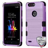 MyBat TUFF Hybrid Protector Cover [Military-Grade Certified] for Zte Sequoia - Purple Brushed / Black