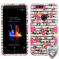 MyBat TUFF Hybrid Protector Cover [Military-Grade Certified] for Zte Sequoia - Pink Fresh Roses / Electric Pink