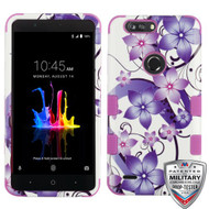 MyBat TUFF Hybrid Protector Cover [Military-Grade Certified] for Zte Sequoia - Purple Hibiscus Flower Romance / Electric Purple