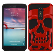 MyBat Skullcap Hybrid Protector Cover [Military-Grade Certified] for Zte Z981 (Zmax Pro) - Solid Red / Black