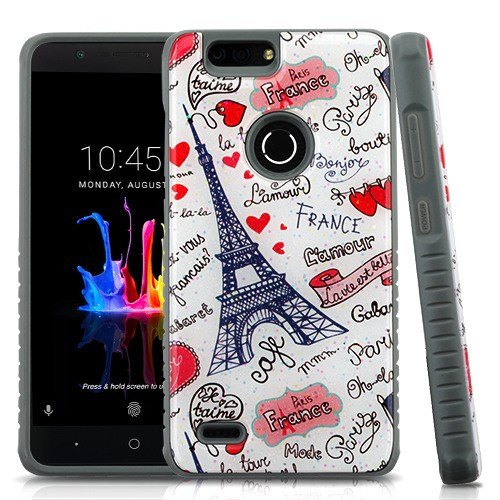 MyBat Fusion Protector Cover for Zte Z982 (Blade Z Max) - Eiffel Tower Love Gel / Iron Gray Glitter