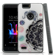 MyBat Fusion Protector Cover for Zte Z982 (Blade Z Max) - Lucky Elephant Mandala Gel / Iron Gray