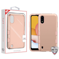 MyBat TUFF Hybrid Protector Cover [Military-Grade Certified] for Samsung Galaxy A01 - Rose Gold / Rose Gold