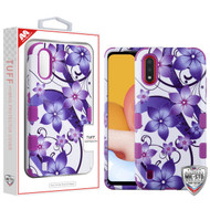 MyBat TUFF Hybrid Protector Cover [Military-Grade Certified] for Samsung Galaxy A01 - Purple Hibiscus Flower Romance / Electric Purple