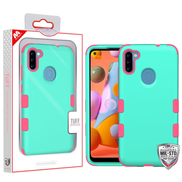 MyBat TUFF Hybrid Protector Cover [Military-Grade Certified] for Samsung Galaxy A11 - Rubberized Teal Green / Electric Pink
