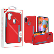 MyBat Poket Hybrid Protector Cover (with Back Film) for Samsung Galaxy A11 - Red / Gray