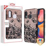 MyBat TUFF Subs Hybrid Case for Samsung Galaxy A20 - Black Lace Flowers (2D Rose Gold) / Black