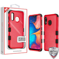 MyBat TUFF Hybrid Protector Cover [Military-Grade Certified] for Samsung Galaxy A20 - Natural Red / Black