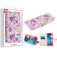 MyBat MyJacket Wallet Diamond Series for Samsung Galaxy A20 - Fresh Purple Flowers