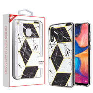 MyBat Fusion Protector Cover for Samsung Galaxy A20 - Electroplated Black Marbling