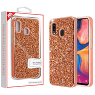 MyBat Encrusted Rhinestones Hybrid Case for Samsung Galaxy A20 - Electroplated Rose Gold / Rose Gold
