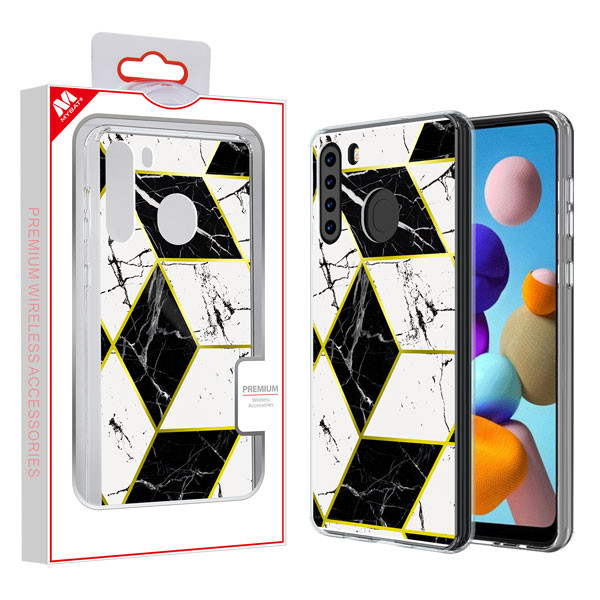 MyBat Fusion Protector Cover for Samsung Galaxy A21 - Electroplated Black Marbling