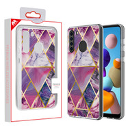 MyBat Fusion Protector Cover for Samsung Galaxy A21 - Electroplated Purple Marbling