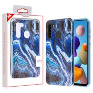 MyBat Frame Hybrid Case for Samsung Galaxy A21 - Blue Stone Marbling Blue