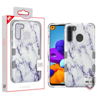 MyBat TUFF Hybrid Protector Cover [Military-Grade Certified] for Samsung Galaxy A21 - White Marbling / Iron Gray