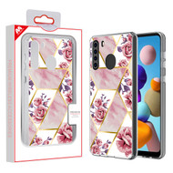 MyBat Fusion Protector Cover for Samsung Galaxy A21 - Electroplated Roses Marbling