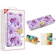 MyBat MyJacket Wallet Diamond Series for Samsung Galaxy A51 5G - Fresh Purple Flowers