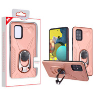 MyBat Hybrid Protector Cover (with Ring Holder Kickstand Bottle) for Samsung Galaxy A51 5G - Rose Gold / Black