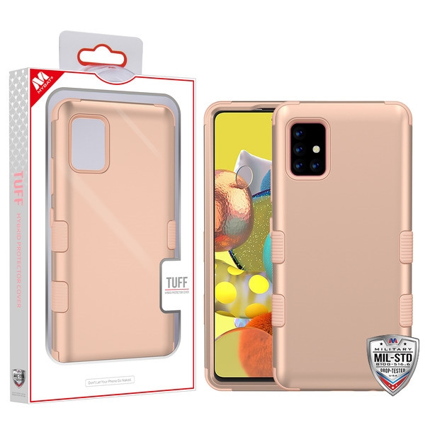 MyBat TUFF Hybrid Protector Cover [Military-Grade Certified] for Samsung Galaxy A51 5G - Rose Gold / Rose Gold