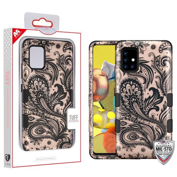 MyBat TUFF Hybrid Protector Cover [Military-Grade Certified] for Samsung Galaxy A51 5G - Phoenix Flower (2D Rose Gold) / Black