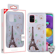 MyBat TUFF Hybrid Protector Cover [Military-Grade Certified] for Samsung Galaxy A51 - Semi Transparent White Frosted Eiffel Tower in the Season of Blooming / Transparent White