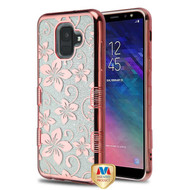 MyBat Full Glitter TUFF Hybrid Protector Cover for Samsung Galaxy A6 (2018) - Electroplating Rose Gold Hibiscus Flower (Transparent Clear)