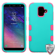 MyBat TUFF Hybrid Protector Cover [Military-Grade Certified] for Samsung Galaxy A6 (2018) - Rubberized Teal Green / Electric Pink