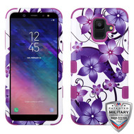MyBat TUFF Hybrid Protector Cover [Military-Grade Certified] for Samsung Galaxy A6 (2018) - Purple Hibiscus Flower Romance / Electric Purple