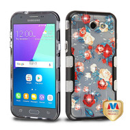 MyBat TUFF Panoview Hybrid Protector Cover for Samsung J327P (J3 2017) - Metallic Black / Red and White Roses Diamante