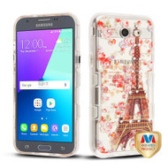 MyBat TUFF Panoview Hybrid Protector Cover for Samsung J327P (J3 2017) - Transparent Clear / Paris in Full Bloom Diamante