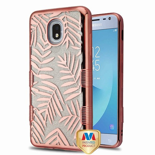 MyBat Full Glitter TUFF Hybrid Protector Cover for Samsung J337 (Galaxy J3 (2018)) - Electroplating Rose Gold Dancing Palm Leaves (Transparent Clear)