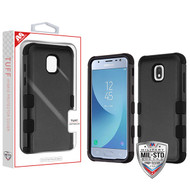 MyBat TUFF Hybrid Protector Cover [Military-Grade Certified] for Samsung J337 (Galaxy J3 (2018)) - Natural Black / Black