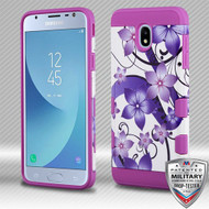MyBat TUFF Trooper Hybrid Protector Cover [Military-Grade Certified] for Samsung J337 (Galaxy J3 (2018)) - Purple Hibiscus Flower Romance / Electric Purple