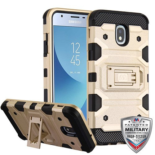 MyBat Storm Tank Hybrid Protector Cover [Military-Grade Certified] for Samsung J337 (Galaxy J3 (2018)) - Gold / Black