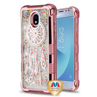 MyBat TUFF Quicksand Glitter Lite Hybrid Protector Cover for Samsung J337 (Galaxy J3 (2018)) - Rose Gold Electroplating / Dreamcatcher / Silver Flowing Sparkles