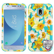 MyBat TUFF Hybrid Protector Cover [Military-Grade Certified] for Samsung J337 (Galaxy J3 (2018)) - Spring Daffodils / Tropical Teal
