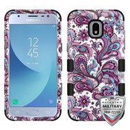 MyBat TUFF Hybrid Protector Cover [Military-Grade Certified] for Samsung J337 (Galaxy J3 (2018)) - Purple European Flowers / Black