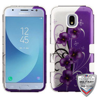 MyBat TUFF Hybrid Protector Cover [Military-Grade Certified] for Samsung J337 (Galaxy J3 (2018)) - Twilight Petunias (2D Silver) / Solid White