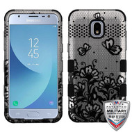 MyBat TUFF Hybrid Protector Cover [Military-Grade Certified] for Samsung J337 (Galaxy J3 (2018)) - Black Lace Flowers (2D Silver) / Black