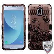 MyBat TUFF Hybrid Protector Cover [Military-Grade Certified] for Samsung J337 (Galaxy J3 (2018)) - Black Lace Flowers (2D Rose Gold) / Black