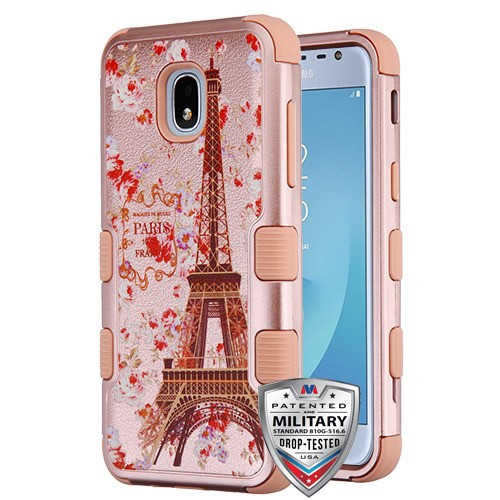 MyBat TUFF Hybrid Protector Cover [Military-Grade Certified] for Samsung J337 (Galaxy J3 (2018)) - Paris in Full Bloom Textured Rose Gold / Rose Gold