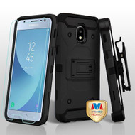 MyBat 3-in-1 Kinetic Hybrid Protector Cover Combo (with Black Holster)(Tempered Glass Screen Protector) for Samsung J337 (Galaxy J3 (2018)) - Black / Black