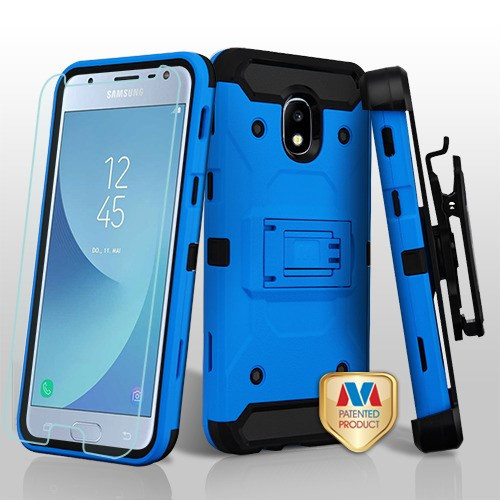 MyBat 3-in-1 Kinetic Hybrid Protector Cover Combo (with Black Holster)(Tempered Glass Screen Protector) for Samsung J337 (Galaxy J3 (2018)) - Blue / Black