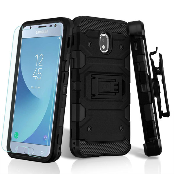 MyBat 3-in-1 Storm Tank Hybrid Protector Cover Combo (with Black Holster)(Tempered Glass Screen Protector)[Military-Grade Certified] for Samsung J337 (Galaxy J3 (2018)) - Black / Black